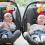 Tvillingbebisar i varsin bilbarnstol.