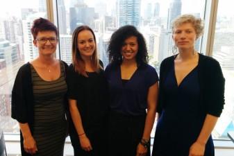 Foto på de fyra svenska deltagarna Eva Holmgren, Hanna Olsson, Emerald Heiland och Dominika Seblova.