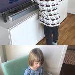 Edvin och Ellen melbéus leker med teknik i sitt hem