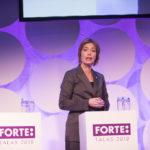 Annika Strandhäll, socialförsäkringsminister, på talar på Forte Talks 2019