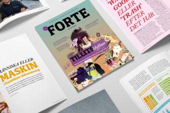 Flera exemplar av Forte Magasin nr 1, 2019 ligger på ett bord