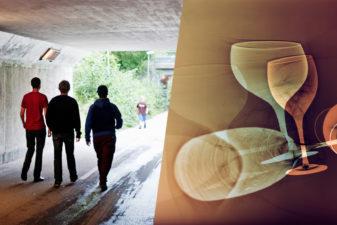 Tvådelad bild. Till vänster: Ungdomar i gångtunnel. TIll höger: Vinglas.
