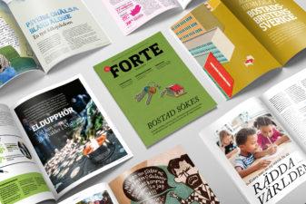 Flera exemplar av Forte Magasin nr 1, 2020 ligger på ett bord