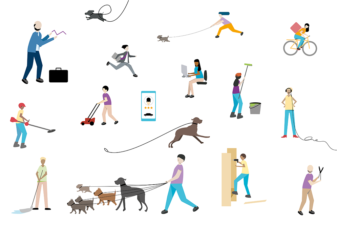 Illustration av små människor som utför olika gig-jobb