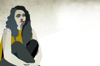 Illustration av en dyster kvinna som sitter ihopkrupen mot en vägg