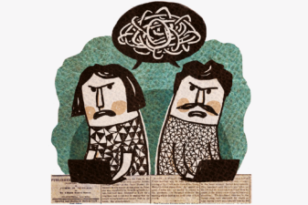 Illustration av kvinna och man som bråkar på jobbet
