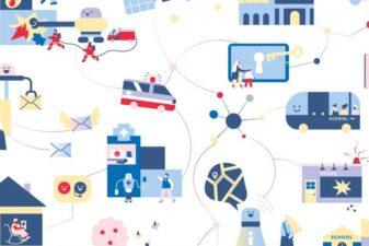 Grafisk illustration som illustrerar hur välfärdsfunktioner är sammankopplade genom digitala lösningar