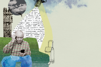 Kollage föreställande äldre man i soffa med mobiltelefon