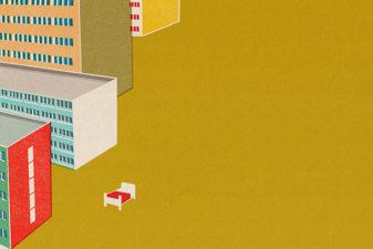 Grafisk illustration av lägenhetshus i stadsmiljö och en säng som står mitt på gatan