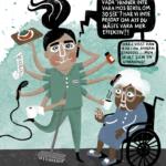 Illustration av hemtjänstpersonal med åtta armar. Personalen ger omsorg till äldre dam i rullstol. Från personalens telefon en pratbubbla med texten