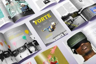 Flera exemplar av Forte Magasin med olika uppslag öppna