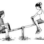 Illustration av två pojkar som sitter på en gungbräda som symbol för ojämlikhet