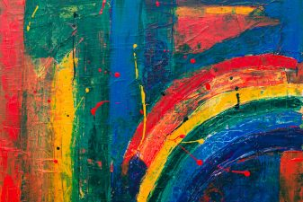 Abstract painting with rainbow colours