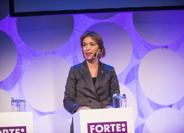 Annika Strandhäll talar på Forte Talks 2019